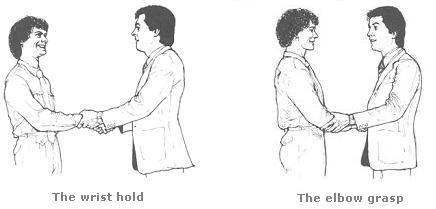 The Wrist hold and Elbow grasp handshake