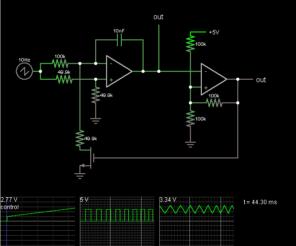 voltage controlled oscillator circuit simulator Sawtooth Wave Generator Sound Effects Generator Circuit Diagram